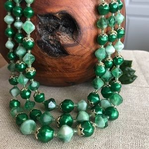 Vintage Hong Kong Triple Strand Green Necklace
